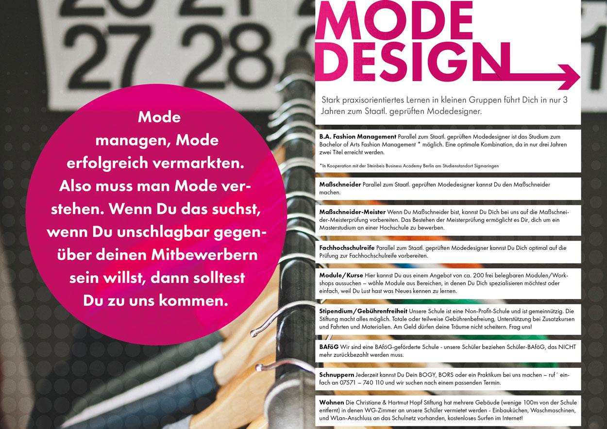 Referenz Modefachschule Sigmaringen