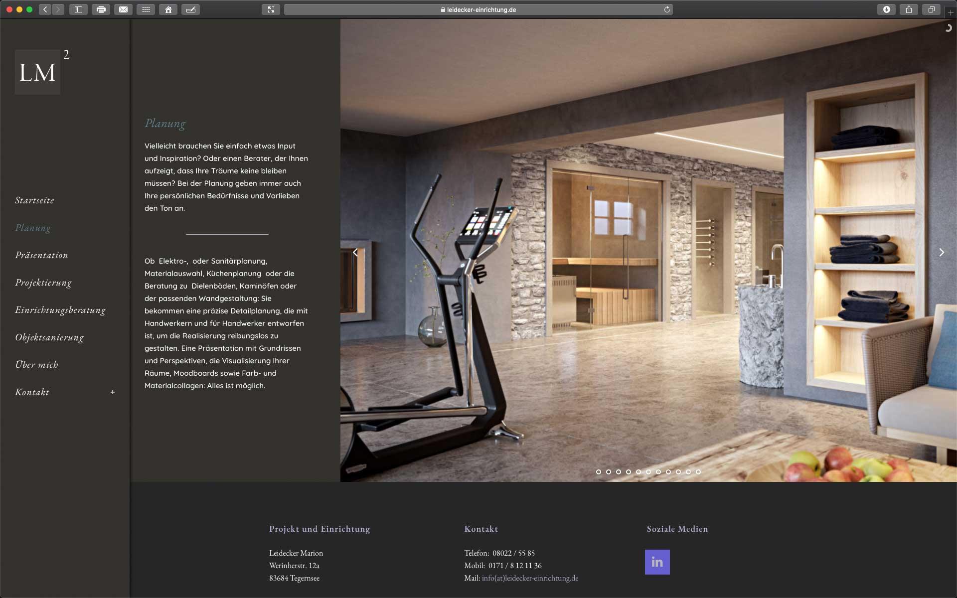 Foto: Website von Marion Leidecker Projekt+Einrichtung in Tegernsee
