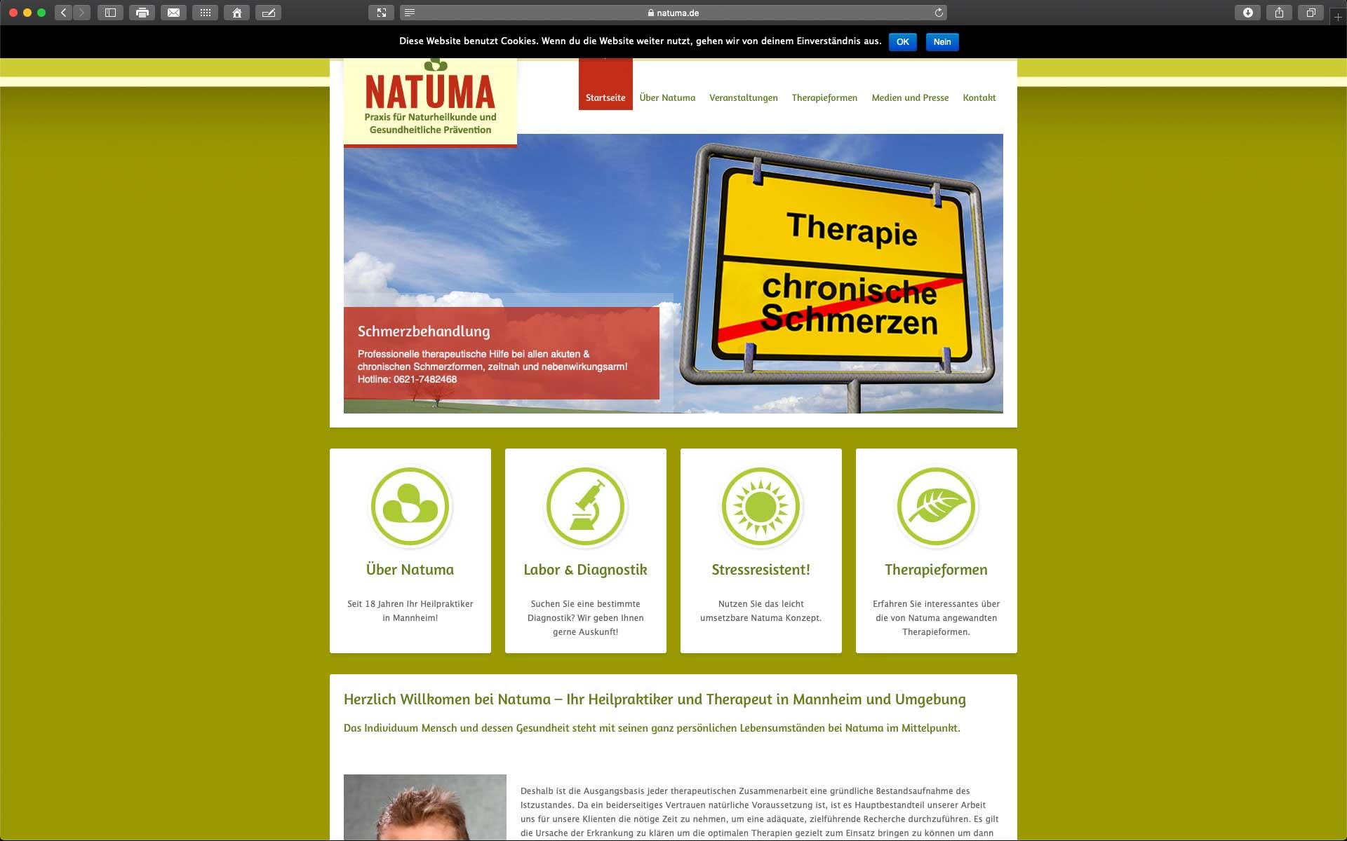 Foto: Website der Naturheilpraxis Natuma in Mannheim